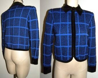 1990s 90s ST JOHN Cardigan / Zip sweater / Crop / Jacket / Knit / Luxe / Mod / chic / Black & Blue / Saks Fifth Avenue / Vintage size 8