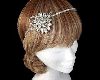 Authentic Vintage Rhinestone Bridal Headband, 1940s Rhinestone Headpiece, Swirl Diamante, Wedding Headband, Bridal Headband, Side Detail