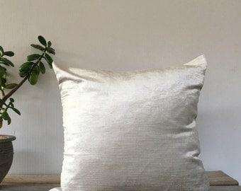 """Designer Pillow COVER, One Velvet pillow case, Decorative Light Silver Pewter Custom Deluxe pillow case 18""""x18"""""""