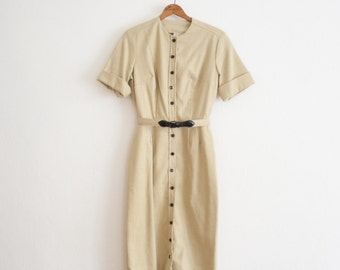 vintage 1960s asparagus linen shirt dress