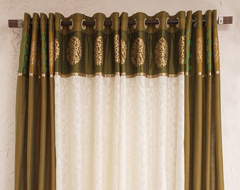 Olive green silk and jacarde curtains