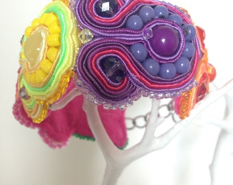 Soutache Bracelet Handmade Upcycled Rainbow