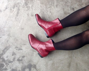 zip up boots - zip up ankle boots -  zip up red leather boots women - Womens Shoe.