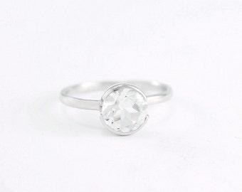 White topaz engagement ring Sterling silver white topaz solitaire Diamond alternative April birthstone Topaz stacking ring by Freesize