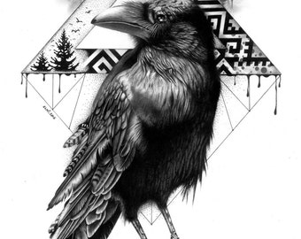 The Crow artwork print pencil and pen