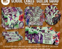 """Back to School Labels Personalized book labels,movie """"Suicide Squad"""", super hero printable, PDF and jpg file to print boy and girl"""