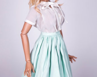 Mint striped midi skirt