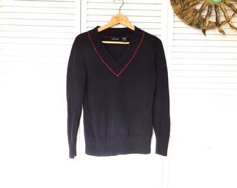 Navy Blue Tennis Sweater College V Neck Pullover Sweater Size Medium, Red Accent Vintage SALE