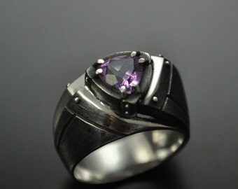 "Sterling Silver Industrial Modern Ring ""Fidendum"" with Amethyst 