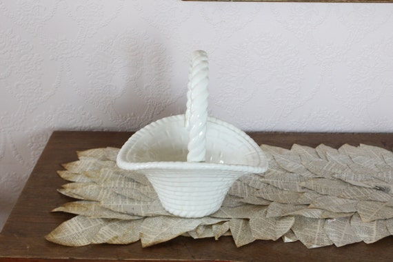 White ceramic easter basket centerpiece candy dish