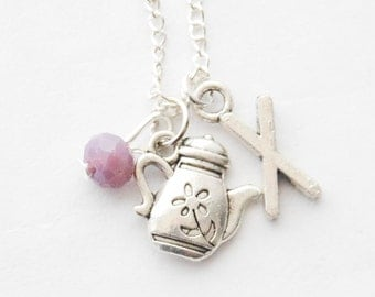 Tea Gifts, Tea Lover Gift, Teapot Necklace, Silver Teapot Necklace, Charm Necklace, English Tea Jewelry, Personalized Tea Lover Gifts