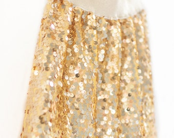 Girl Sequin Skirt, holiday skirt, gold skirt, toddler skirt, christmas skirt, special occasion, size 12mo, 2T, 3T, 4T, 5, 6, 7, 8,10,12