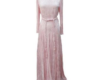 1940s pink liquid satin evening gown