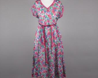 1980s fine cotton floral tea dress