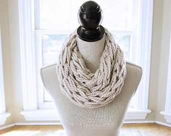 Arm Knit Scarf // Chunky Knit Scarf // Infinity Scarf // Chunky Cowl //  Circle Scarf //