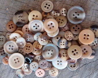 Vintage Buttons: Lot of 100 Brown