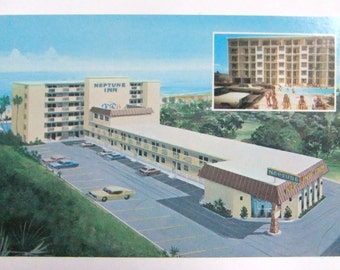 Daytona Beach Florida Vintage Postcard, Unused Postcard, Neptune Inn, Florida Postcard