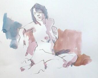 Original watercolor. Woman sitting. Portrait. Sketch.