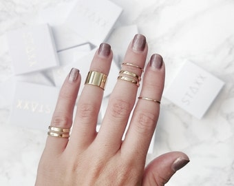 Gold Tube Midi Rings Set - Set Of Five - Stacking Rings Box Set - Midi Rings - Stackable Rings - Above The Knuckle - RS08-G