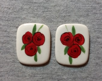 Red Rose Earrings - Ceramic Jewelry - Handpainted Earrings - Flower Jewelry - Post Earrings - Unique Jewelry - Art Jewelry - Gifts For Women