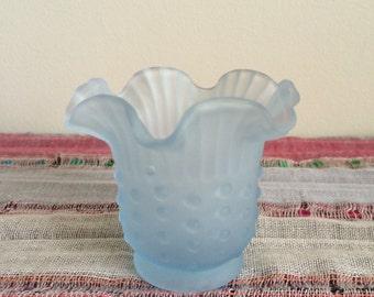 Vintage Blue Glass Vase -- Small Vintage Glass Vase