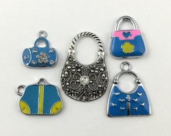 5 handbag silver tone and enamel charms, 38mm to 48mm# ENS A 521