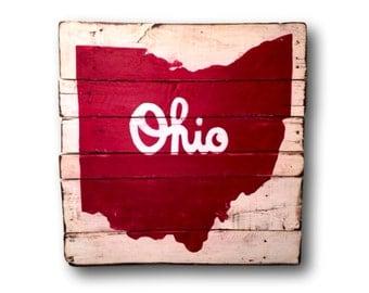Script Ohio Sign- State of Ohio Wood Sign- Ohio Art- State Art- Graduation Gift- Housewarming Gift- Man Cave Decor