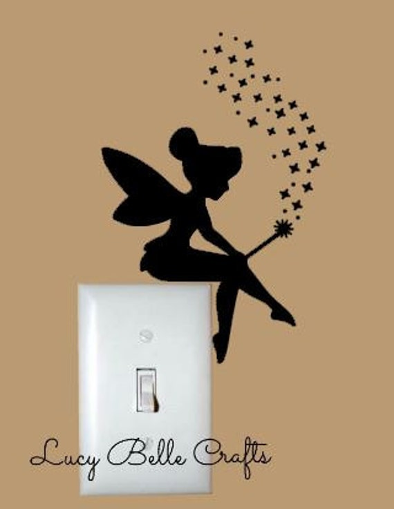 tinkerbell sitting on a light switch decal w by lucybellecrafts. Black Bedroom Furniture Sets. Home Design Ideas