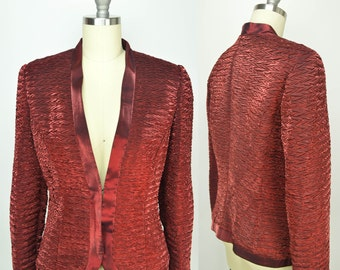 80s Red Bolero, Vintage Metallic Formal Jacket