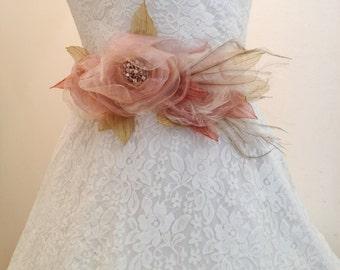 Bridal sash belt, Flower sash belt, bridal sash, sash belt, peach bridal sash belt, wedding dress sash, wedding sash,