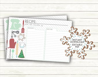 Christmas Recipe Card Printable | Holiday Cookie Swap Party Recipe Card | Cookie Exchange Cookie Decorating Instant Download editable PDF