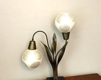 Mid-Century Modern Two Globe Black Metal Lamp