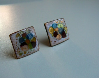Vintage Multicolored Square Clip On Earrings