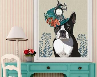 Boston Terrier Print - Milliners Dog - boston terrier art boston terrier lover boston terrier gift Boston Terrier lover Boston Terrier owner