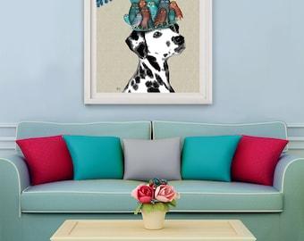 Dalmatian Print - Milliners Dog - Dalmatian art Dalmatian lover Dalmatian gift dalmatian wall art unusual gift dog lover owl hat colourful