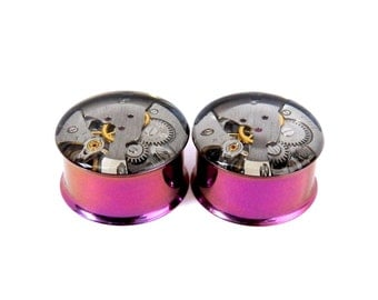 Steampunk Watch Plugs / Tunnels  - Pink / Purple Gears In Your Ears. 22mm / 7/8 inch gauge. Pair.