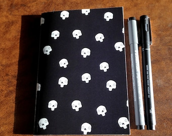 A6 Simplistic Cute Mexican Sugar Skull Notebook Notepad Lined Inside