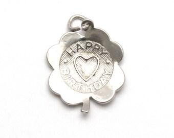 Sterling Silver Happy Birthday Bracelet Charm Four Leaf Clover Heart