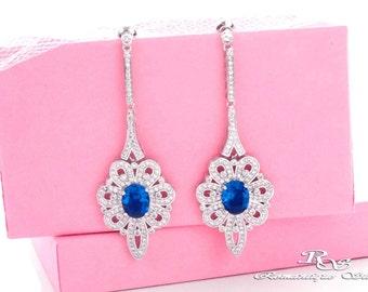 Blue wedding earrings, Blue sapphire earrings, Blue bridal earrings, Blue crystal earrings,  Blue wedding jewelry, Bridesmaid earrings 1406