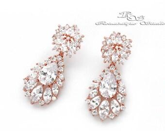 Bridal earrings, ROSE GOLD, Crystal wedding earrings, Bridal chandelier earrings, Rhinestone wedding earrings, Wedding jewelry 1364RG