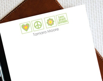 PEACE, LOVE & TENNIS Personalized Notepad - Tennis Gift - Tennis Stationery Notepad