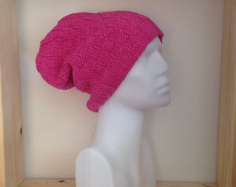 Pink Slouch Beanie Knitted Hat