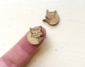 Pair SLEEPY FOX,  Mini Wooden Cabochon Crafty Cuts Laser, Laser Cut, DIY Supplies, Wooden Cabochons, Cool Cabochons