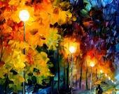 "Canvas Wall Art - Blue Moon — Landscape Oil Painting On Canvas By Leonid Afremov, Fine Art Artwork, Size: 20"" X 36"" Inches (50 cm x 90 cm)"