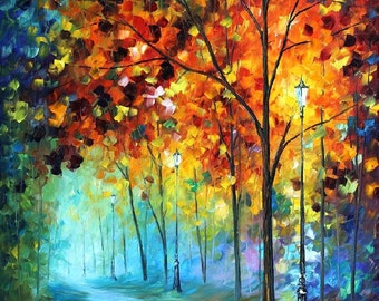 Colorful Art Forest Painting On Canvas By Leonid Afremov - Fog Alley. Size:  24