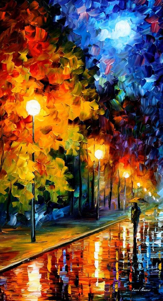 """Arte de la pared de la lona - Luna azul — Paisaje óleo sobre lienzo por Leonid Afremov, ilustraciones artísticas, tamaño: 20 """"X 36"""" pulgadas (50 cm x 90 cm)"""