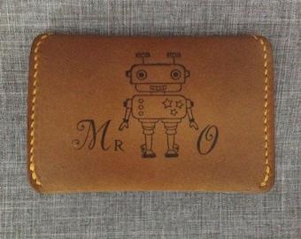 Leather Slim Card Wallet Hand Stitched -Mr. Roboto
