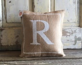 Burlap Pillow - Monogram pillow   Bridesmaids & Wedding gifts   Baby Shower Gift   Nursery pillow   Mother's Day Gift   Graduation Gift