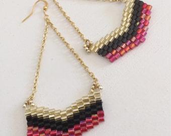 Bead and Chain Earrings, Chevron, Dangle Drop Earrings, Red, Black, Gold Seed Bead Earings, Gold Chain Jewelry, Middle Eastern Earring Gift
