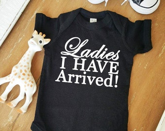 Ladies I have Arrived Cursive Baby Boy Black and White Bodysuit by Simply Chic Baby Boutique